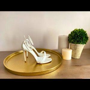 White Zara Heeled Ankle Strap Sandal